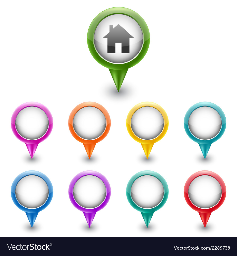 Colorful map markers vector   Price: 1 Credit (USD $1)