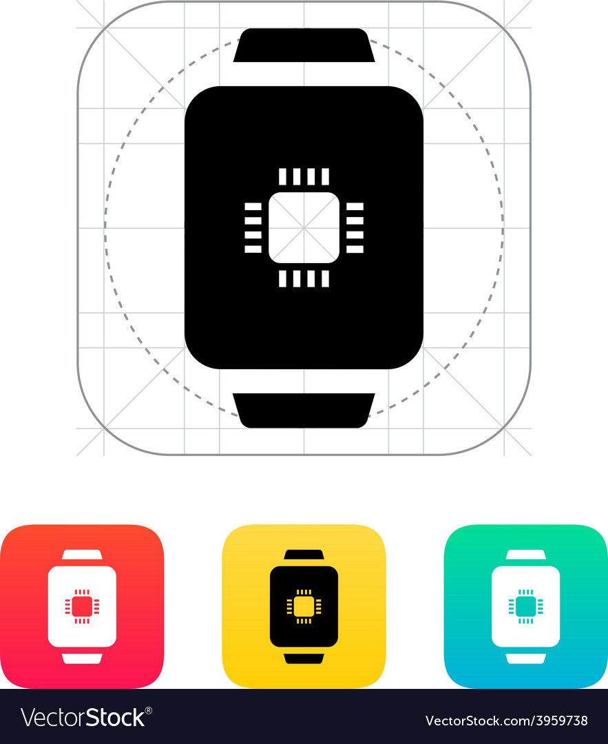Cpu in smart watch icon vector | Price: 1 Credit (USD $1)