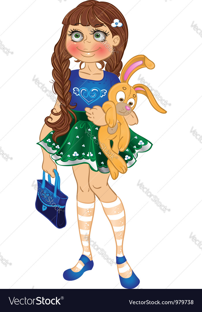 Girl with yellow bunny and bag vector | Price: 3 Credit (USD $3)