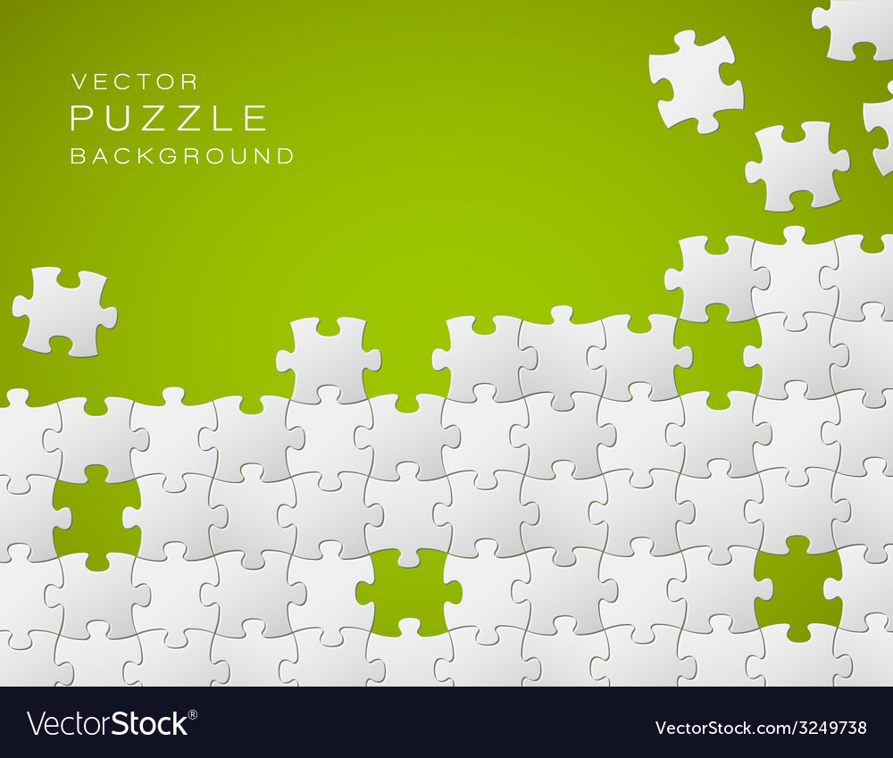 Green background made from white puzzle pieces vector | Price: 1 Credit (USD $1)