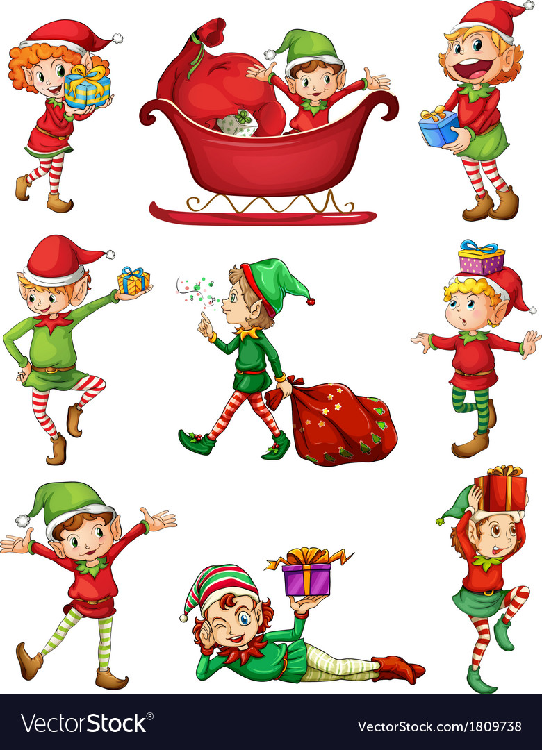 Playful santa elves vector | Price: 1 Credit (USD $1)