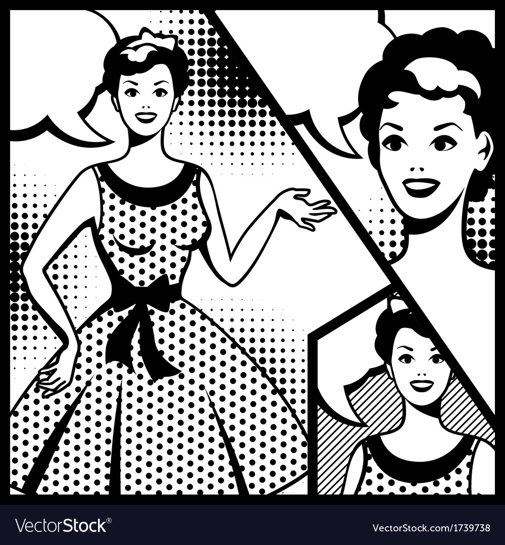 Retro girl in pop art style vector | Price: 1 Credit (USD $1)