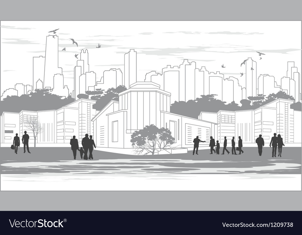 Silhouettes of people in black and white vector | Price: 1 Credit (USD $1)