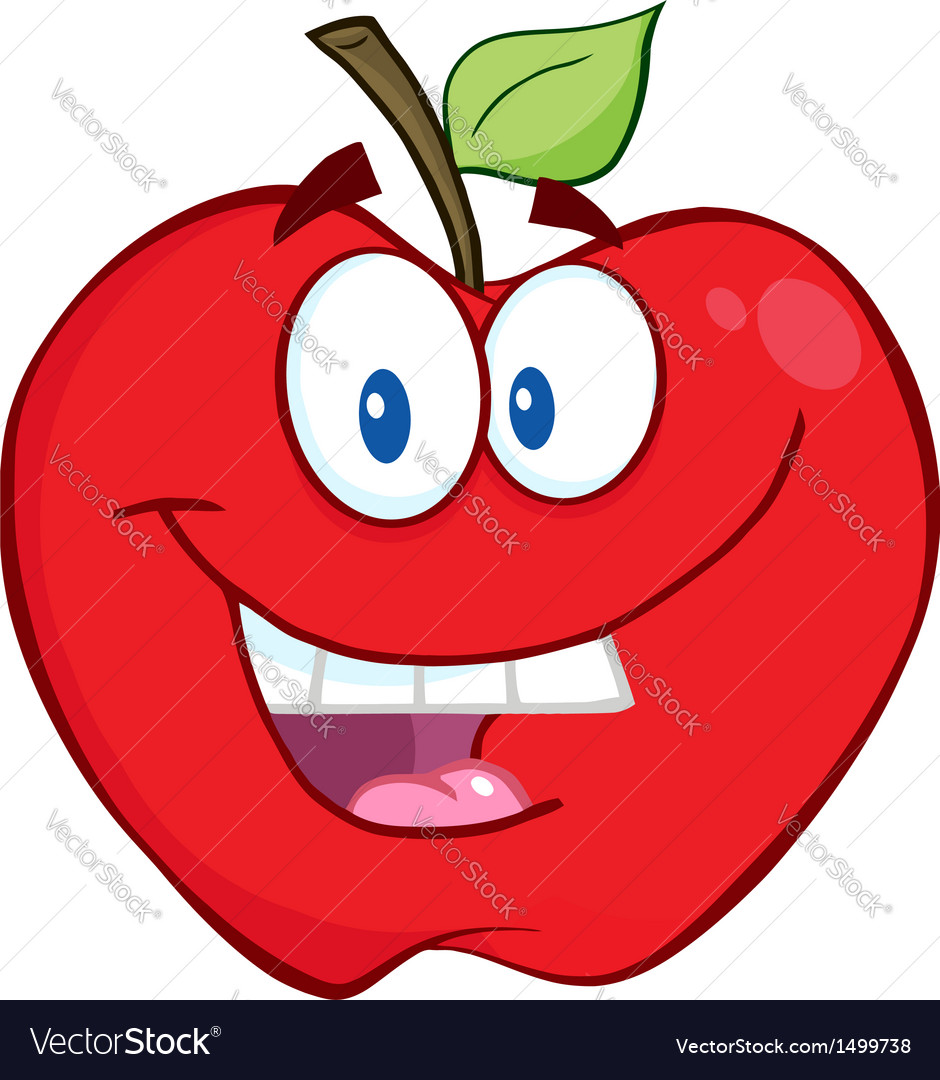 Smiling apple cartoon character vector | Price: 1 Credit (USD $1)