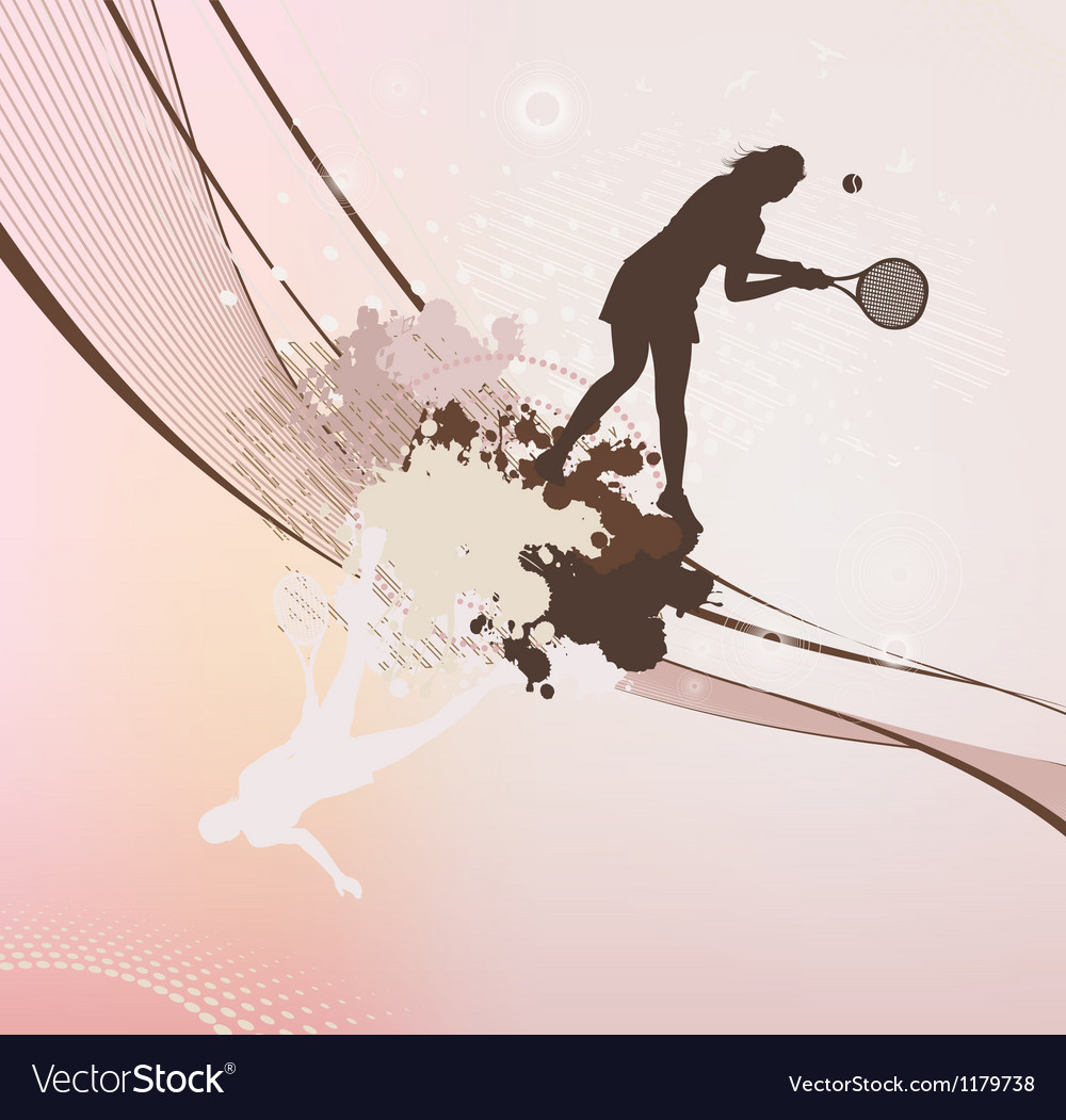 Tennis girl with stains and blots vector   Price: 1 Credit (USD $1)