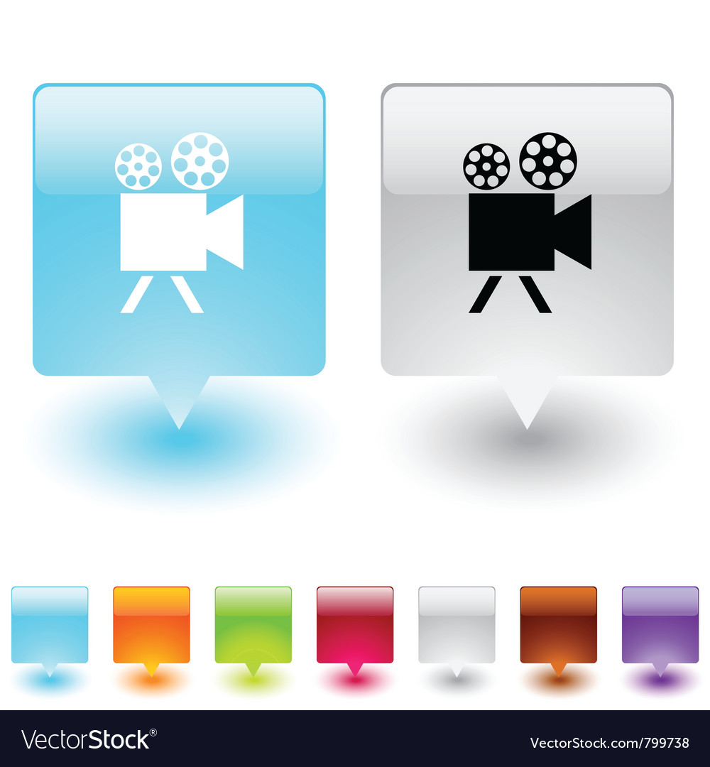Video camera square button vector | Price: 1 Credit (USD $1)