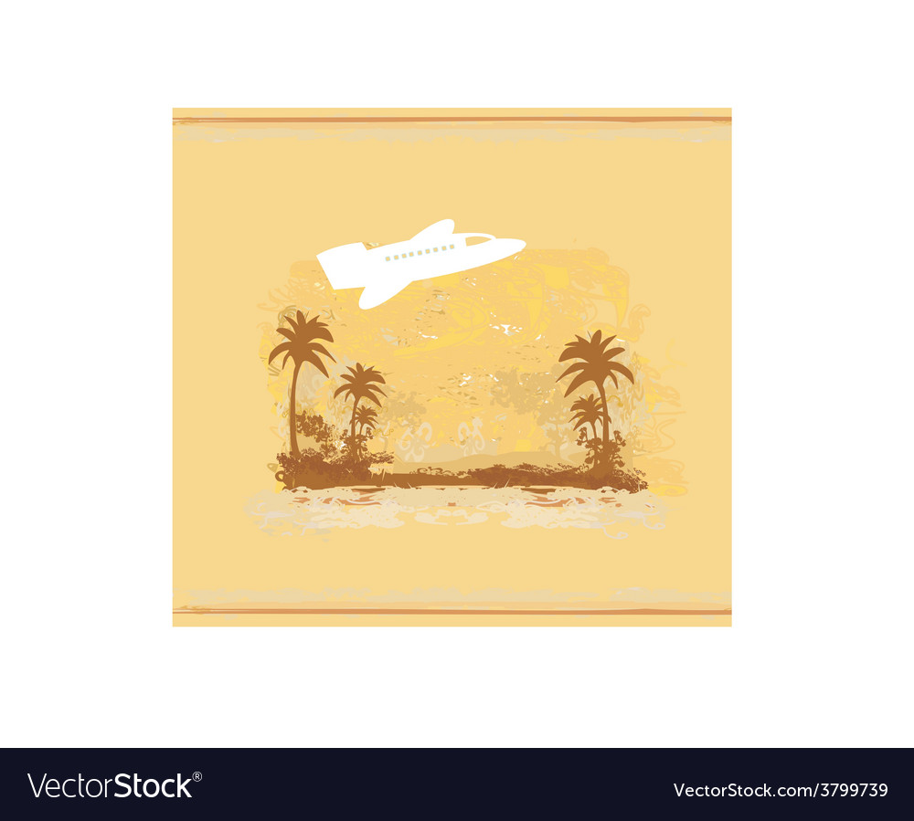 Airplane with palm of tropics background vector | Price: 1 Credit (USD $1)