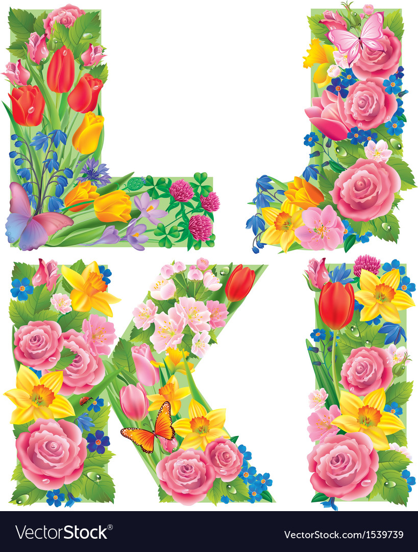 Alphabet of flowers ijkl vector | Price: 3 Credit (USD $3)