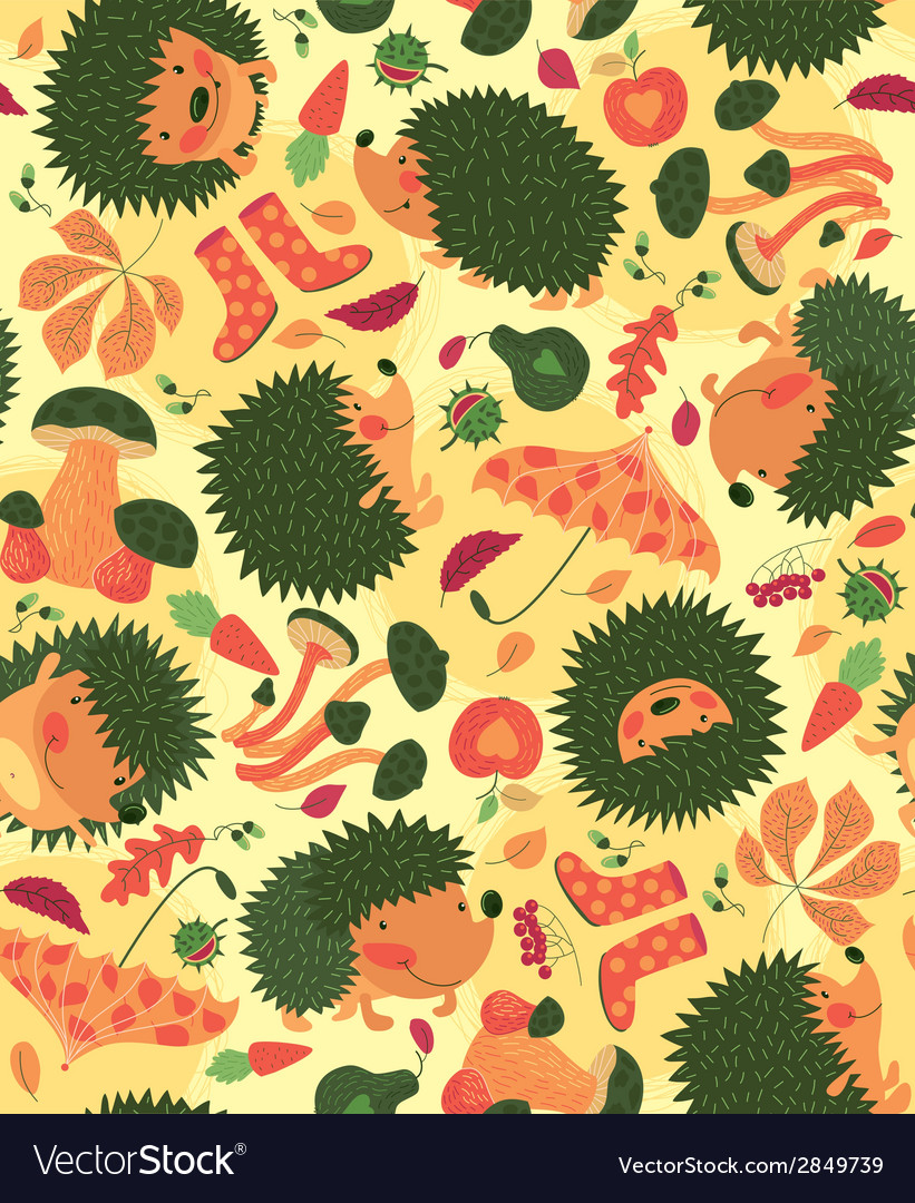 Autumn pattern with hedgehogs vector | Price: 1 Credit (USD $1)