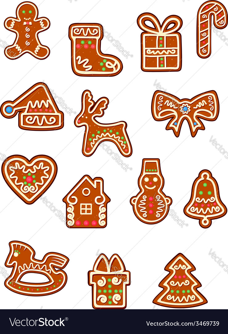 Brown christmas gingerbreads and cookies vector   Price: 1 Credit (USD $1)