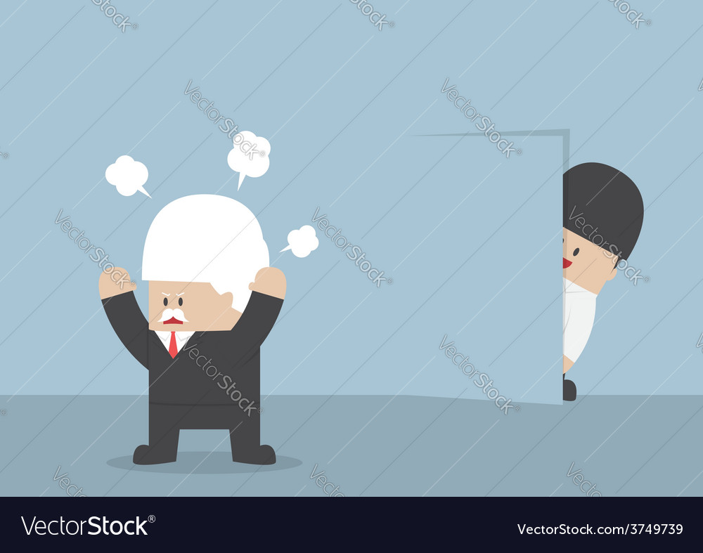 Businessman hiding from angry boss behind the wall vector | Price: 1 Credit (USD $1)
