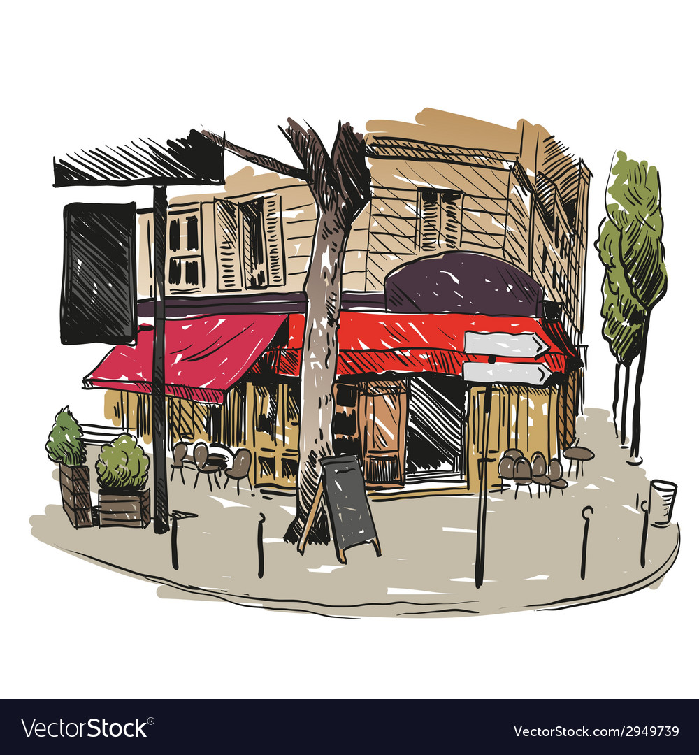 Cafe drawing vector   Price: 1 Credit (USD $1)