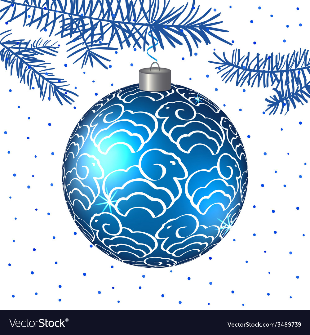 Christmas blue ball with sheep background vector | Price: 1 Credit (USD $1)