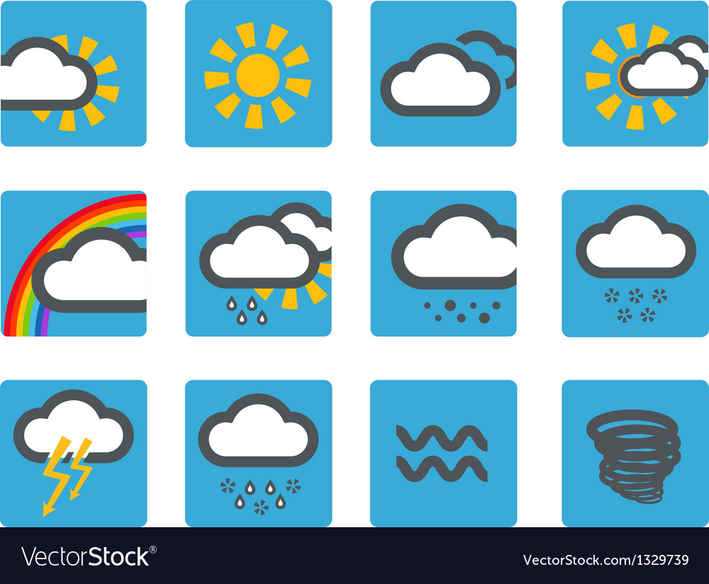Forecast weather icons set vector | Price: 1 Credit (USD $1)