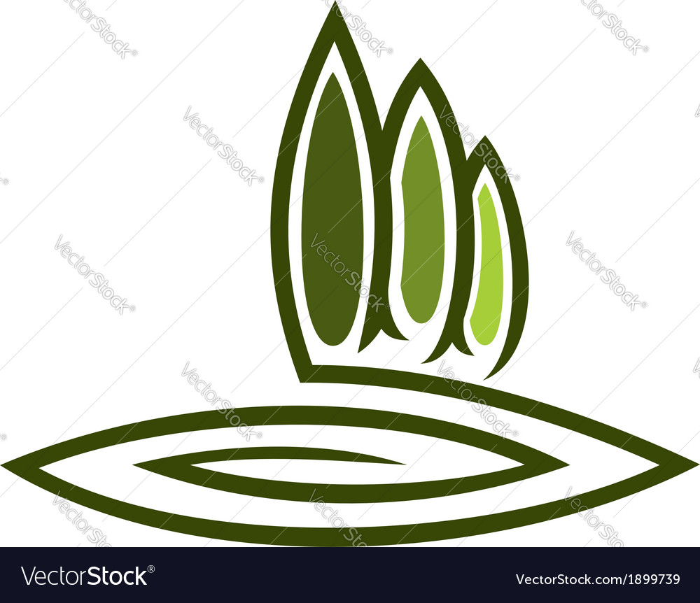Green eco symbol with tall cypresses vector | Price: 1 Credit (USD $1)