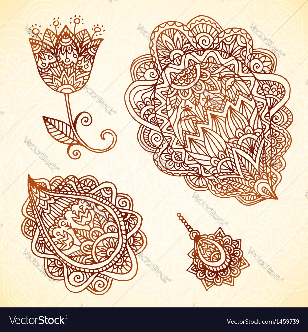 Ornate vintage elements in indian style vector | Price: 1 Credit (USD $1)