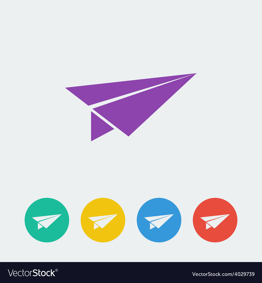 Paper airplane flat circle icon vector | Price: 1 Credit (USD $1)