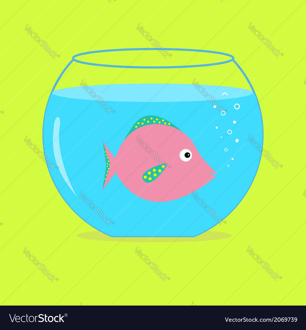 Pink fish in the aquarium card vector | Price: 1 Credit (USD $1)