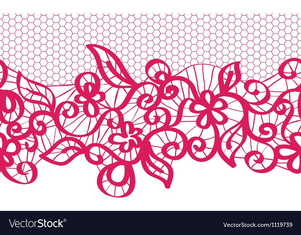 Seamless red lace with floral pattern vector | Price: 1 Credit (USD $1)