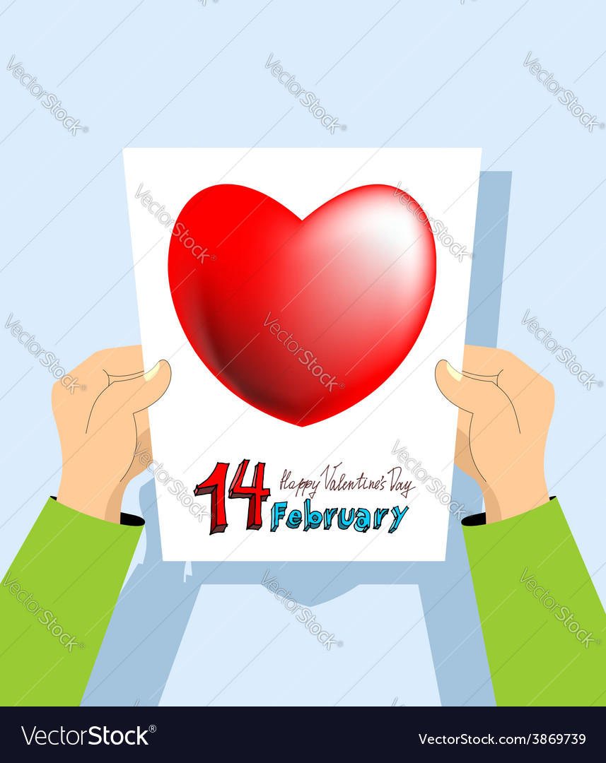 Valentines day card february 14th vector | Price: 1 Credit (USD $1)