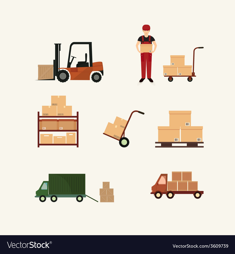 Warehouse transportation and delivery icons flat vector | Price: 1 Credit (USD $1)