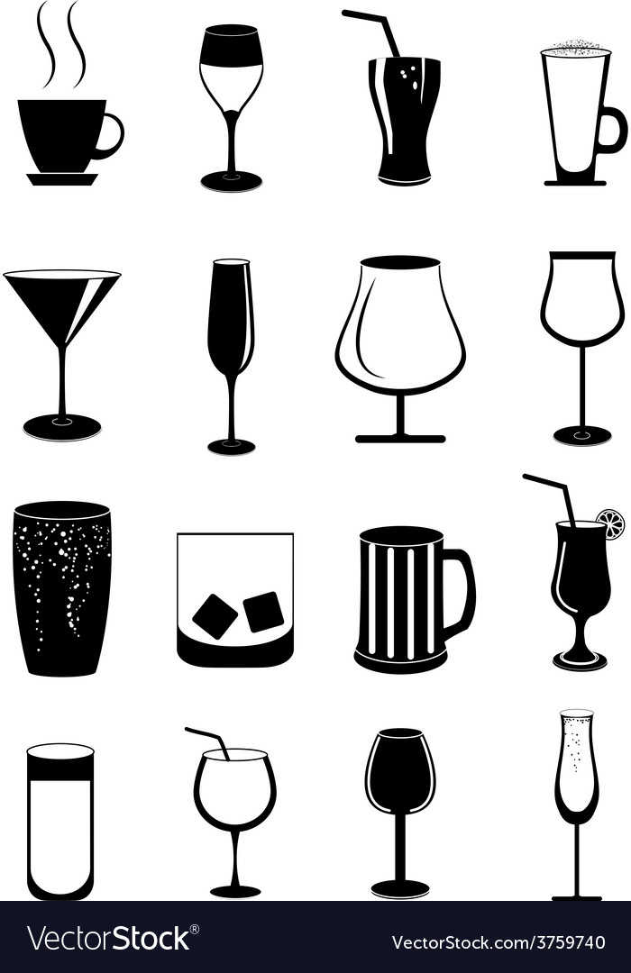Alcohol drinks icons set vector | Price: 1 Credit (USD $1)