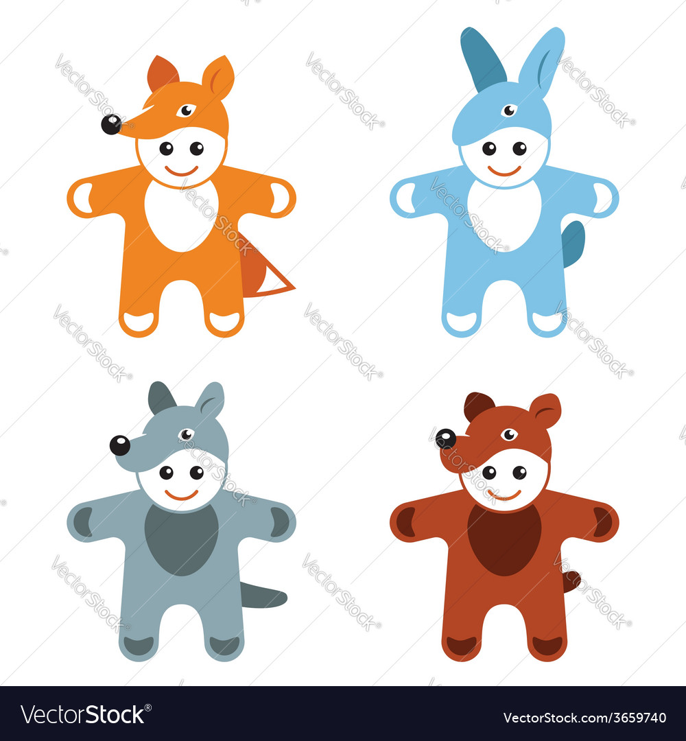 Childrens carnival costumes animals hare fox wolf vector | Price: 1 Credit (USD $1)