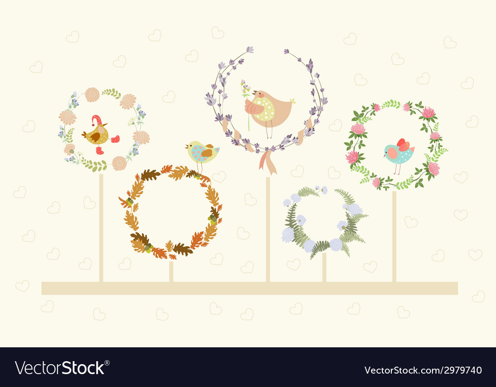 Cute floral wreaths and birds vector | Price: 1 Credit (USD $1)