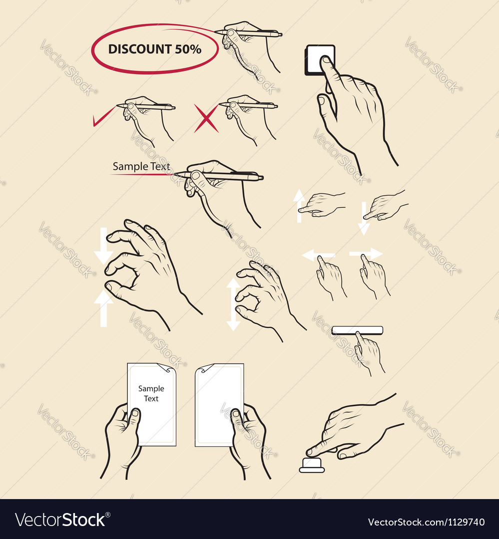 Hand signs write zoom in zoom out etc vector   Price: 1 Credit (USD $1)
