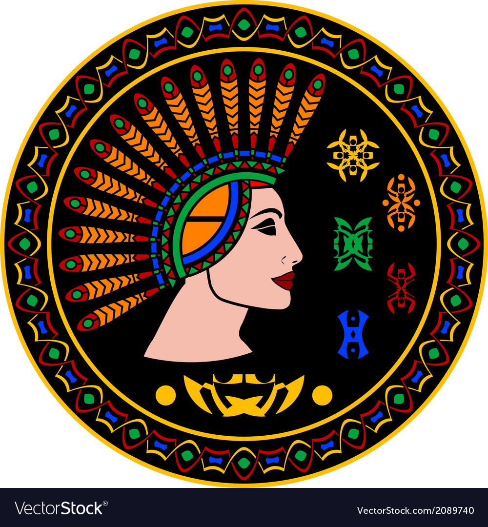 Mayan woman and hieroglyphs vector | Price: 1 Credit (USD $1)