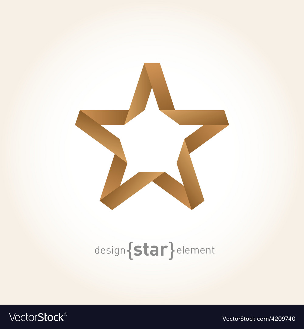Origami star from old paper on gradient background vector | Price: 1 Credit (USD $1)