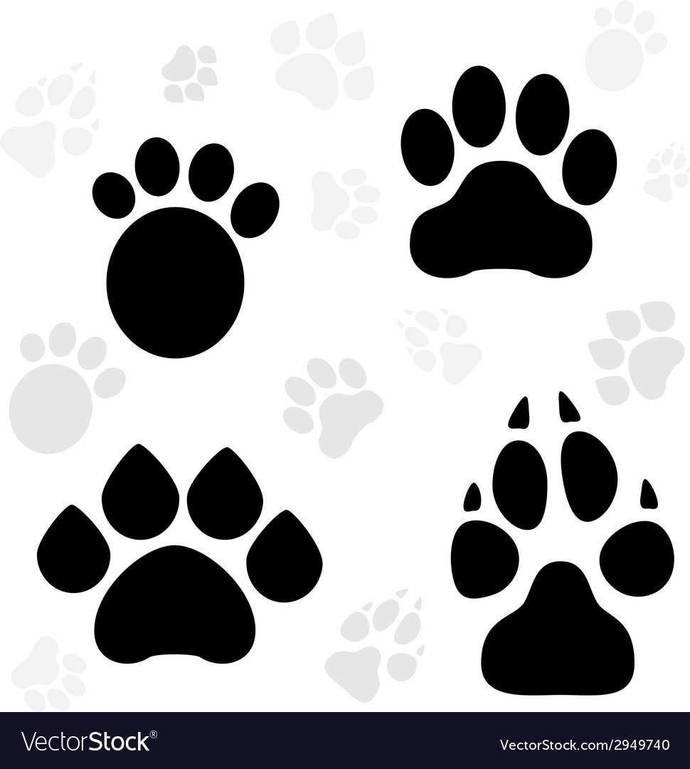 Paws and claws print vector | Price: 1 Credit (USD $1)