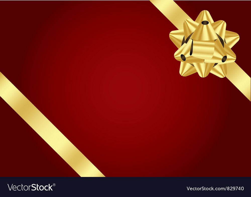 Red background with gold bow vector | Price: 1 Credit (USD $1)