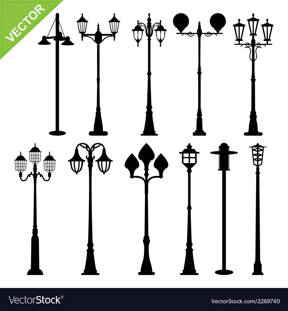 Retro street lamps silhouettes vector | Price: 1 Credit (USD $1)