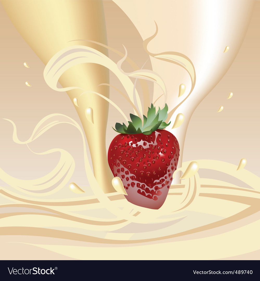Strawberries with milk vector | Price: 3 Credit (USD $3)