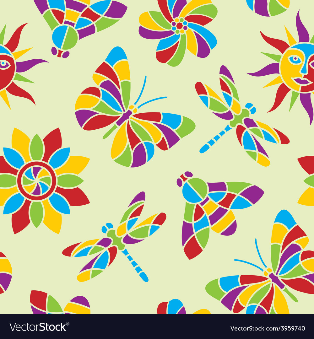 Summer mosaic seamless pattern vector | Price: 1 Credit (USD $1)