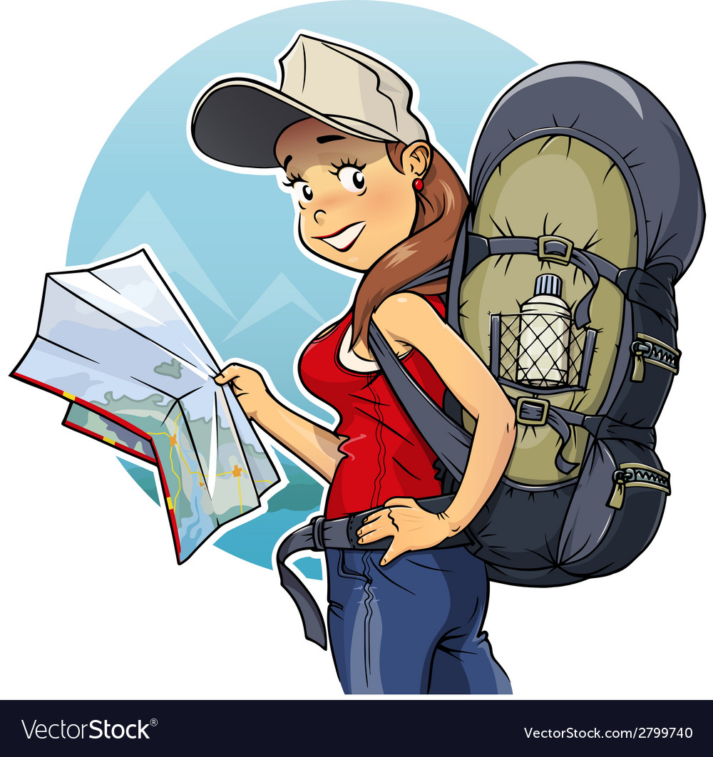 Tourist girl with rucksack vector | Price: 1 Credit (USD $1)