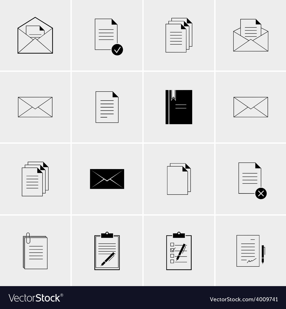 Black and white set of icons vector | Price: 1 Credit (USD $1)