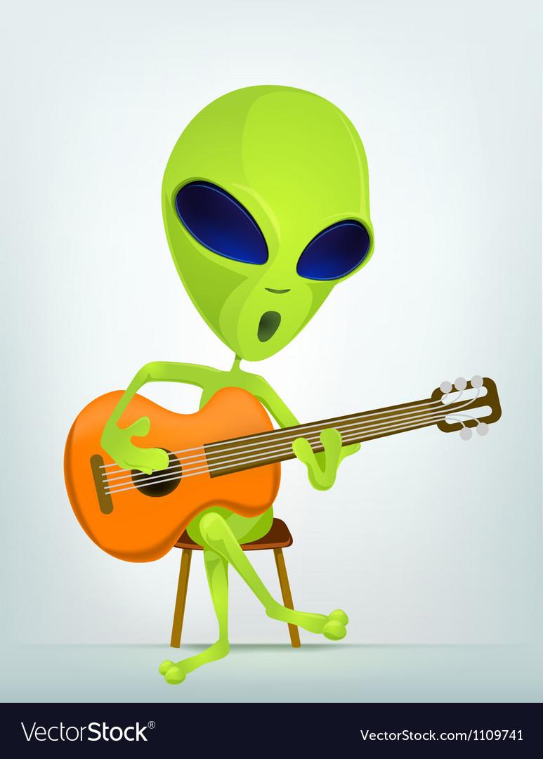 Cartoon alien guitar vector | Price: 1 Credit (USD $1)