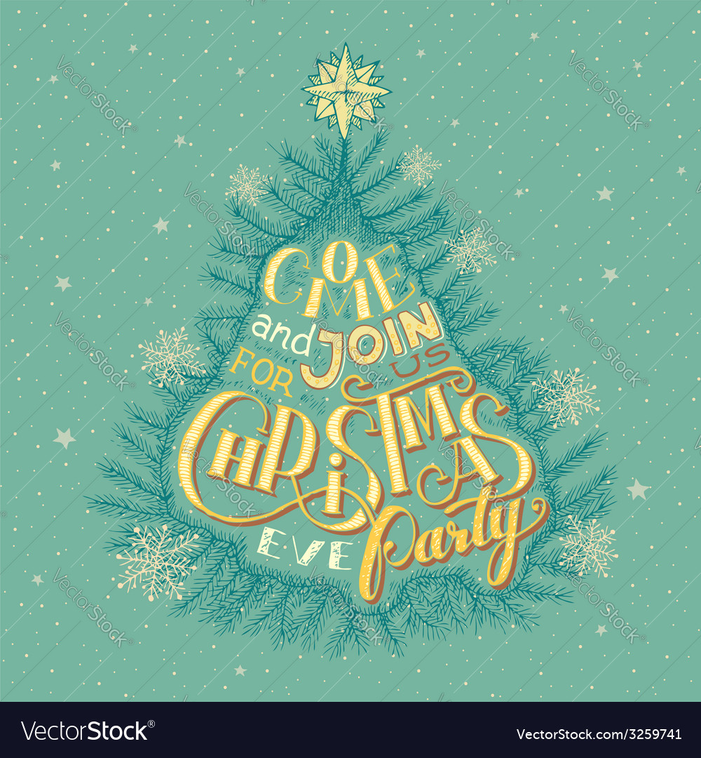 Christmas eve party invitation vector | Price: 3 Credit (USD $3)