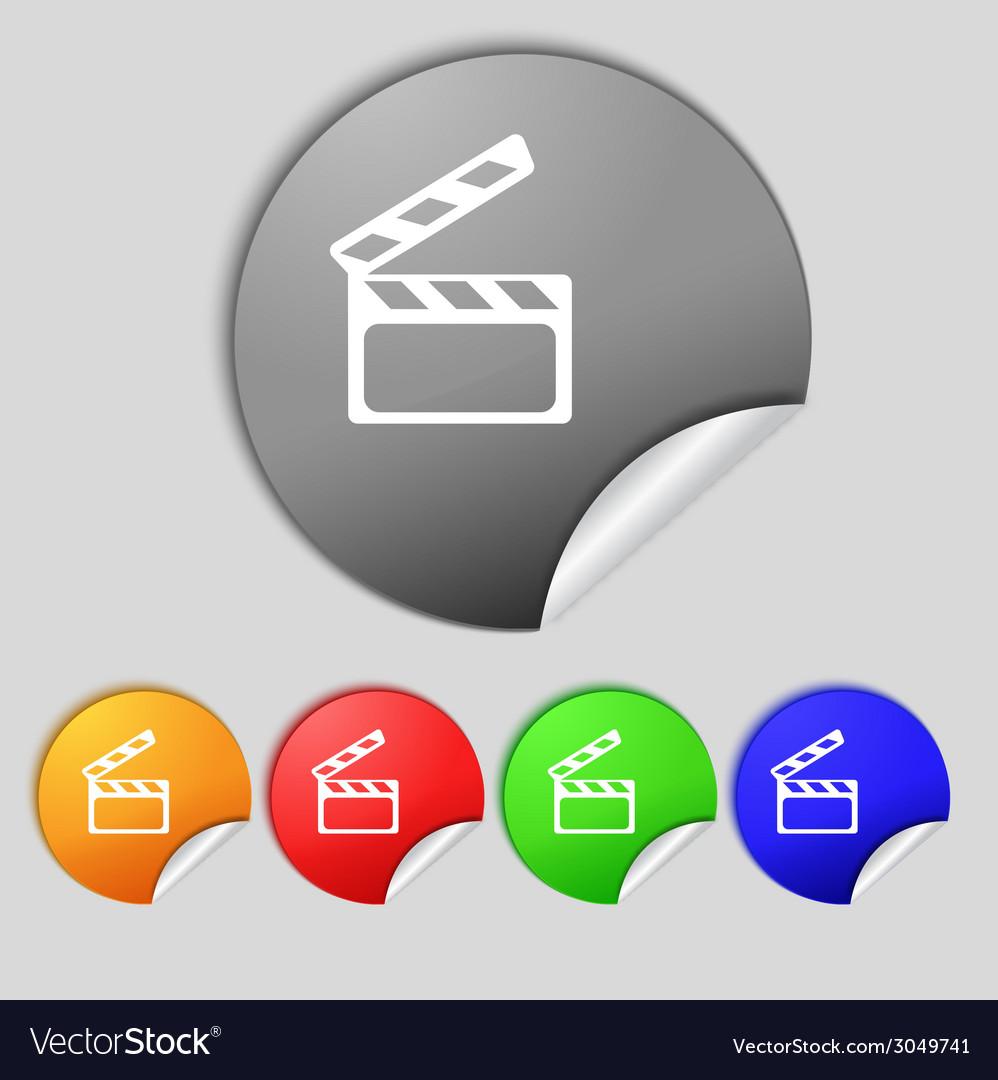 Cinema clapper sign icon video camera symbol set vector | Price: 1 Credit (USD $1)