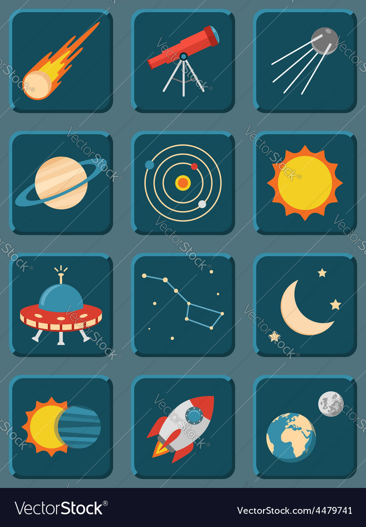 Collection of colorful flat astronomy and space vector | Price: 1 Credit (USD $1)