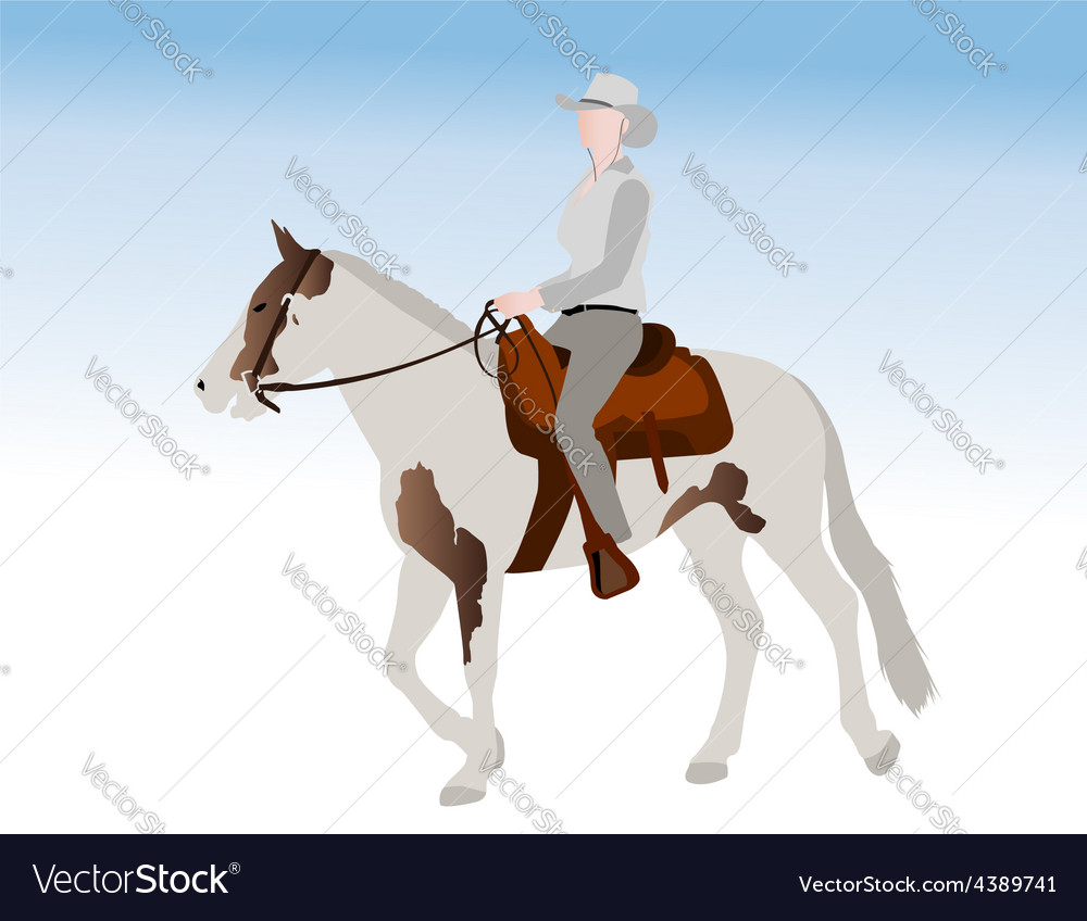 Cowgirl riding horse vector | Price: 1 Credit (USD $1)