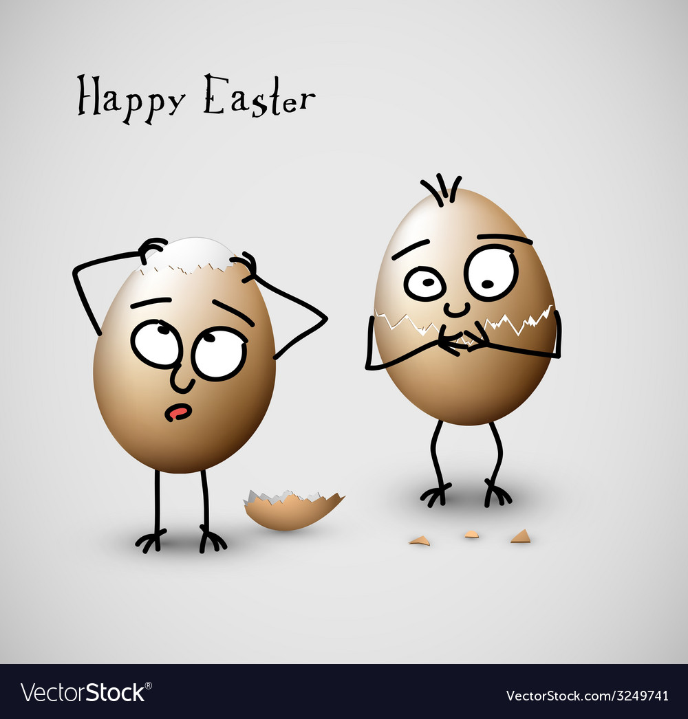Funny cracked easter eggs - vector | Price: 1 Credit (USD $1)