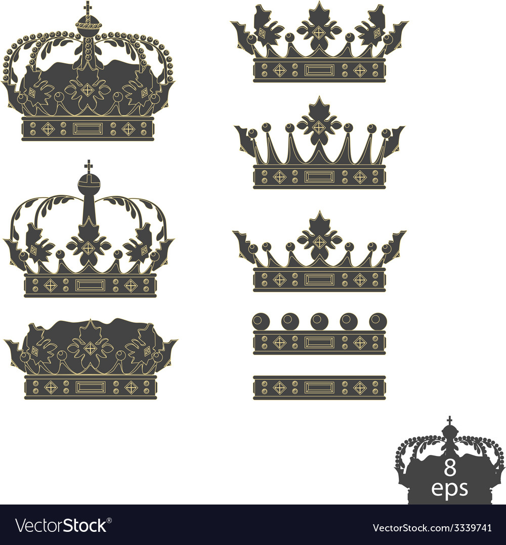 Grey crowns set vector | Price: 1 Credit (USD $1)
