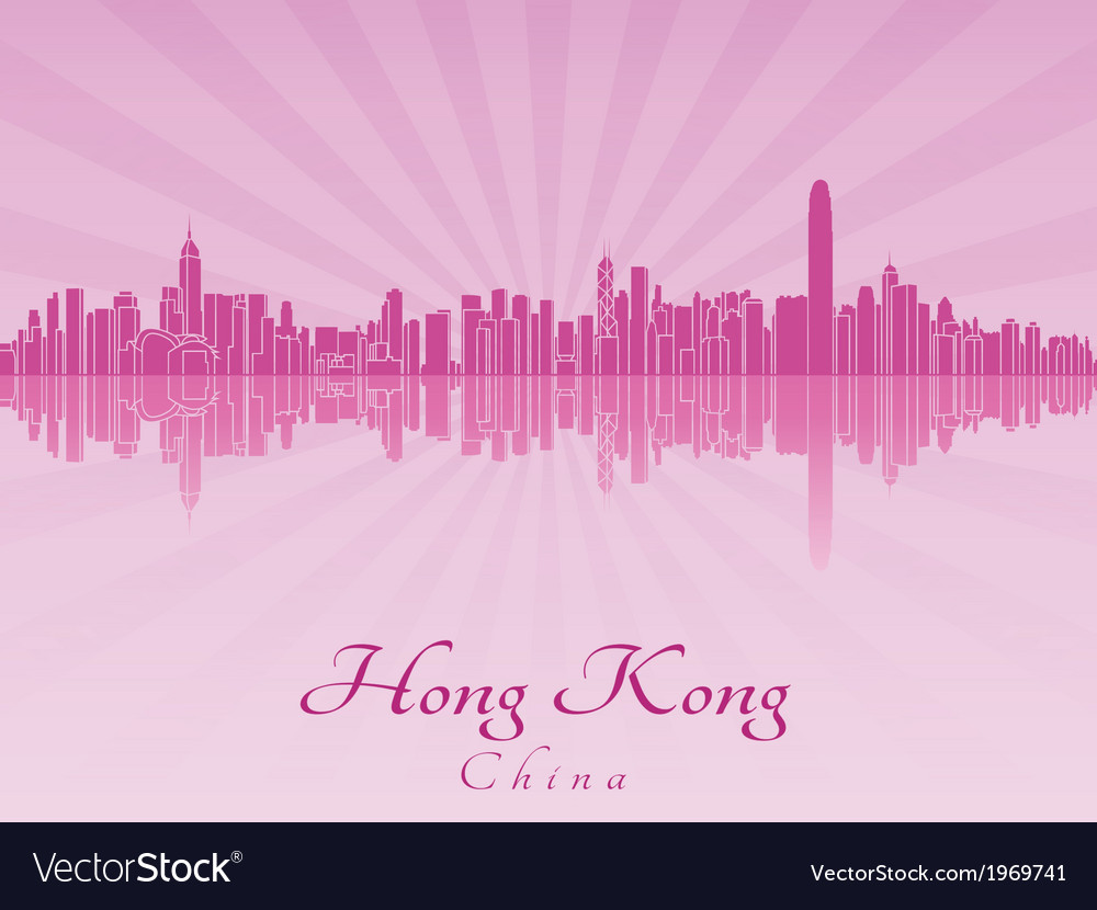 Hong kong skyline in purple radiant orchid vector | Price: 1 Credit (USD $1)