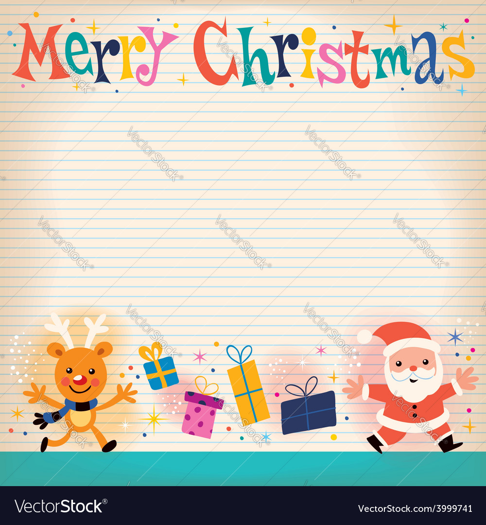 Merry christmas lined note book paper retro vector | Price: 1 Credit (USD $1)