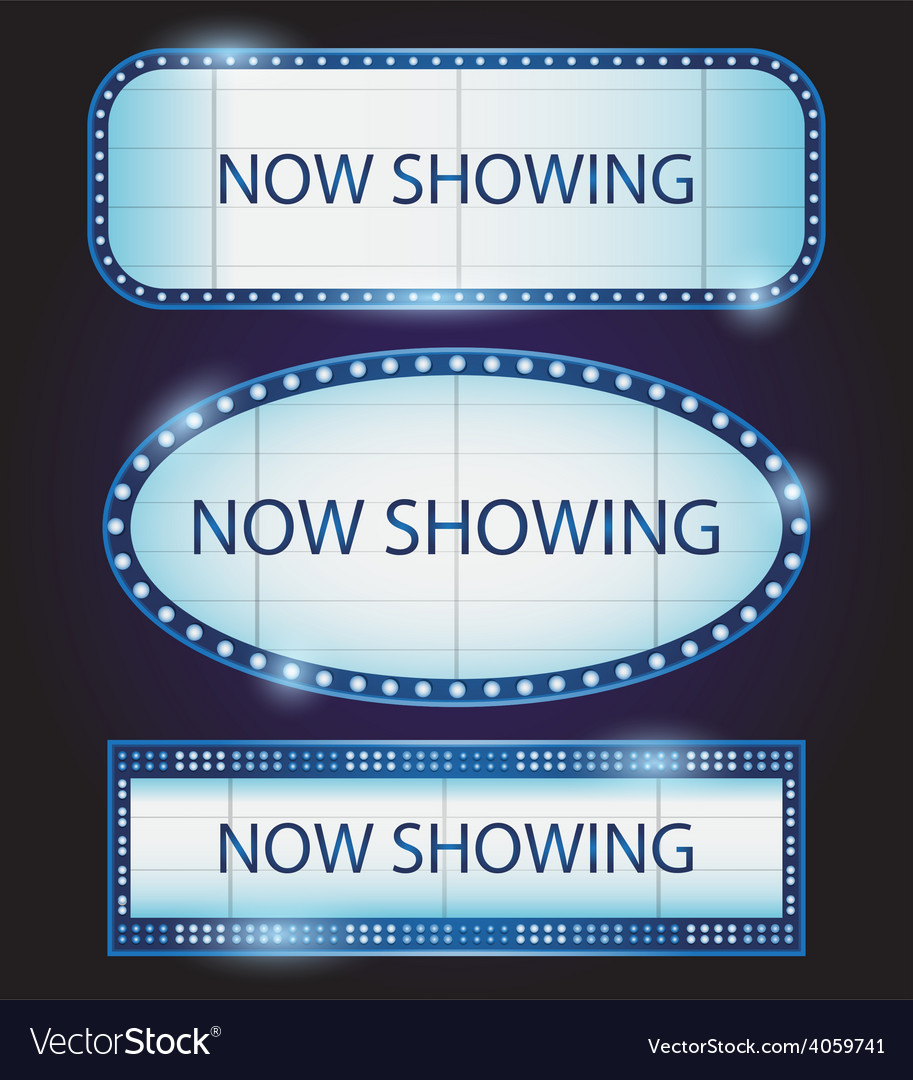Retro showtime sign theatre cinema vector | Price: 1 Credit (USD $1)