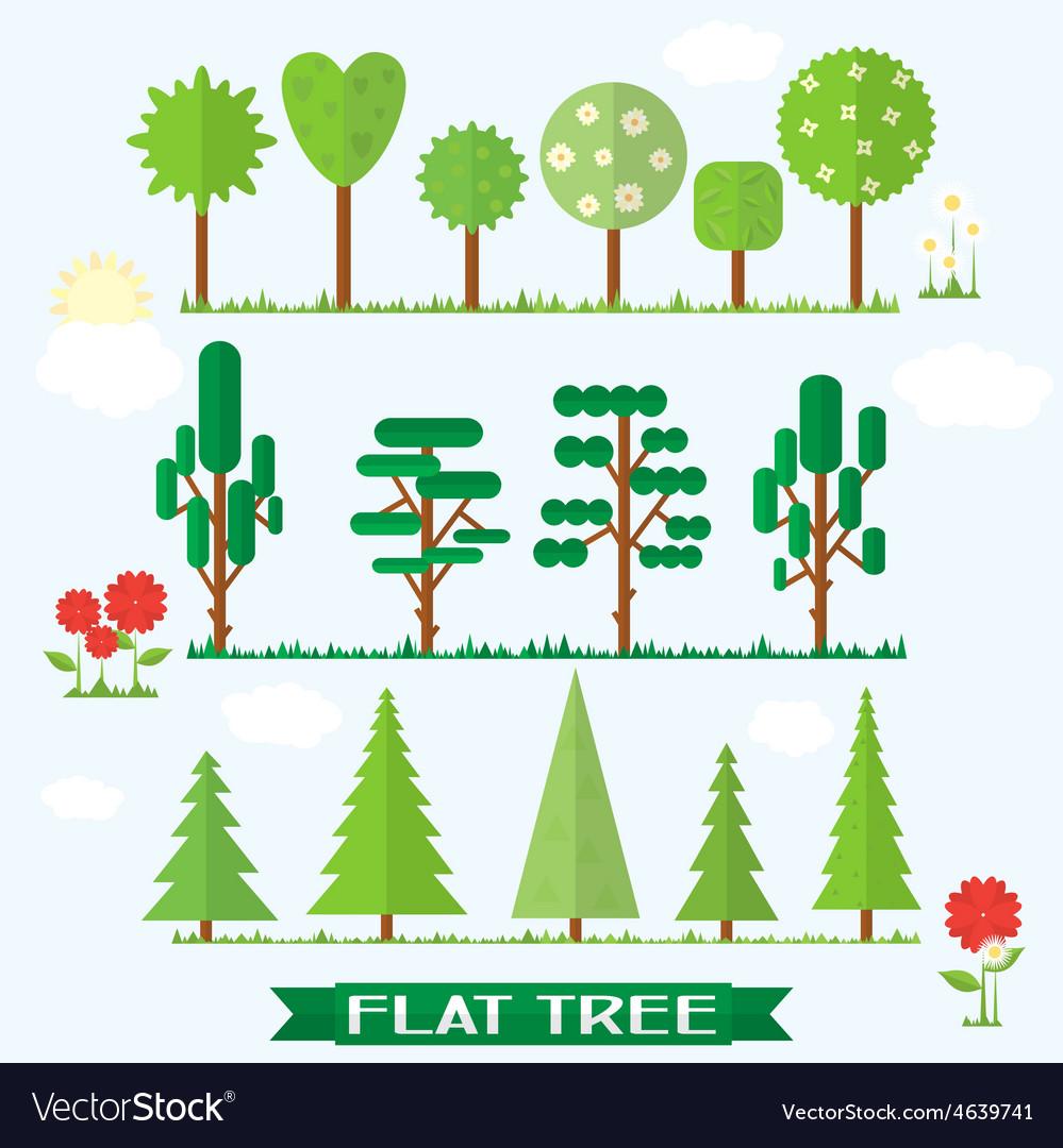 Set flat tree flower spruce vector | Price: 1 Credit (USD $1)