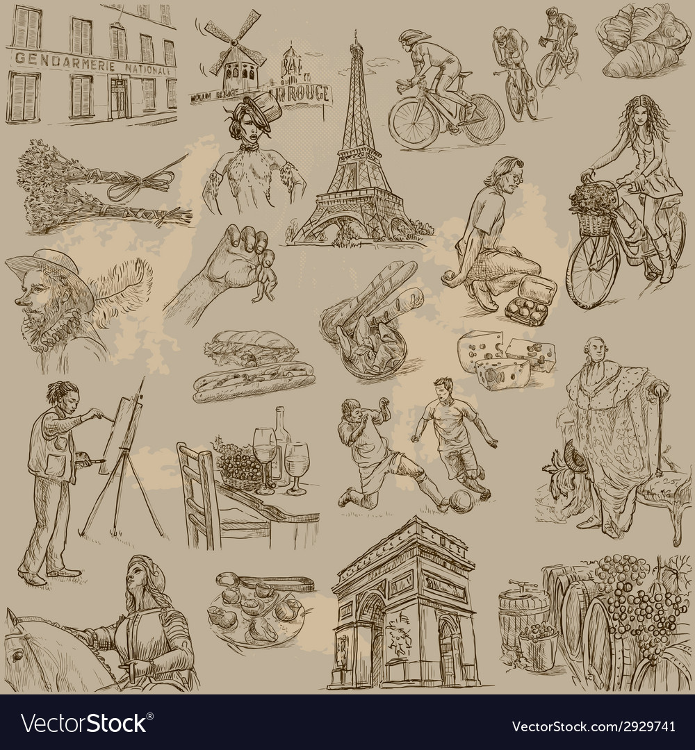 Traveling france - an hand drawn pack vector | Price: 1 Credit (USD $1)